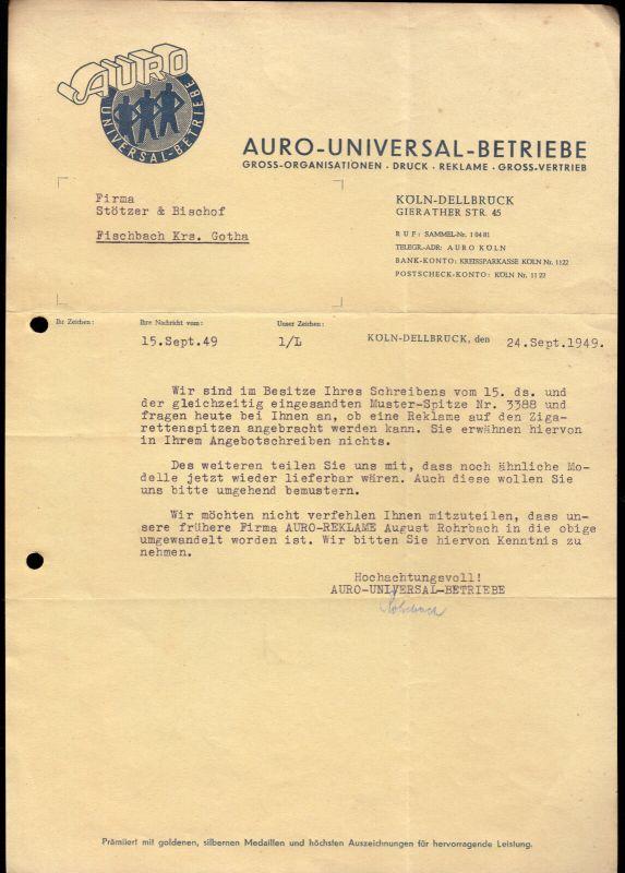 Anschreiben, Fa. Auro-Univeral Betriebe Köln-Delbrück, 24.09.49