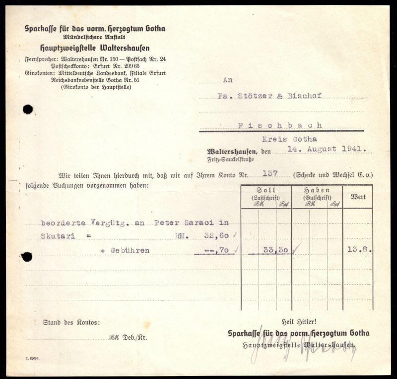 Anschreiben, Sparkasse für das vorm. Herzogtum Gotha, Kontenbeleg, 14.8.41