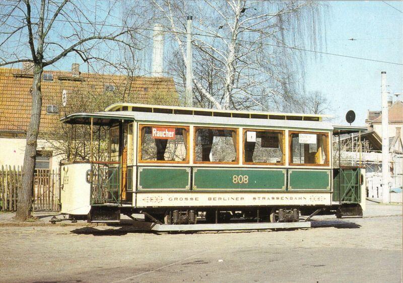 Ansichtskarte, Berlin, Straßenbahn, Beiwagen 808 der BVG, Baujahr 1906, 1989