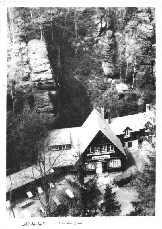 Ansichtskarte, Uttewalde Sächs. Schweiz, Gaststätte Waldidylle im Uttewalder Grund, 1968