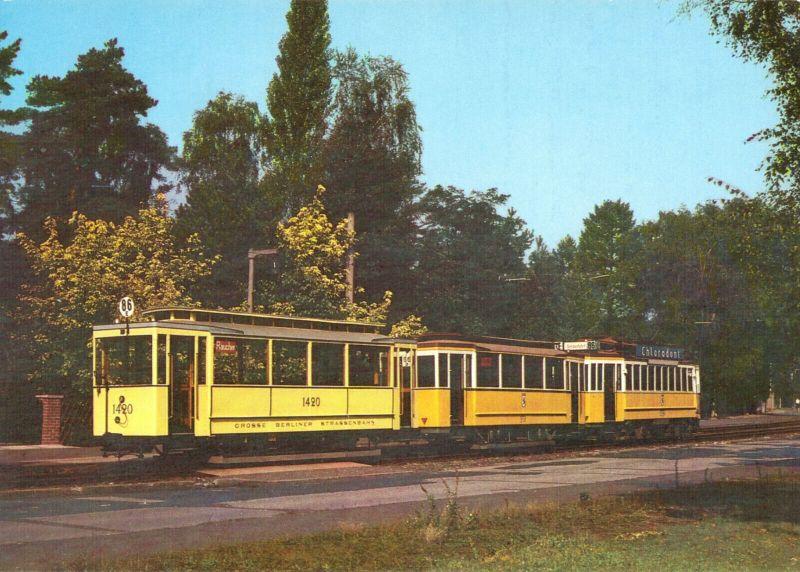 Ansichtskarte, Berlin, Beiwagen 1420 mit Triebwagen 5256, Baujahr 1915, 1987