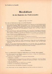 Merkblatt für die Mitglieder des Wahlvorstandes, Volkskammerwahlen, 16.11.1958