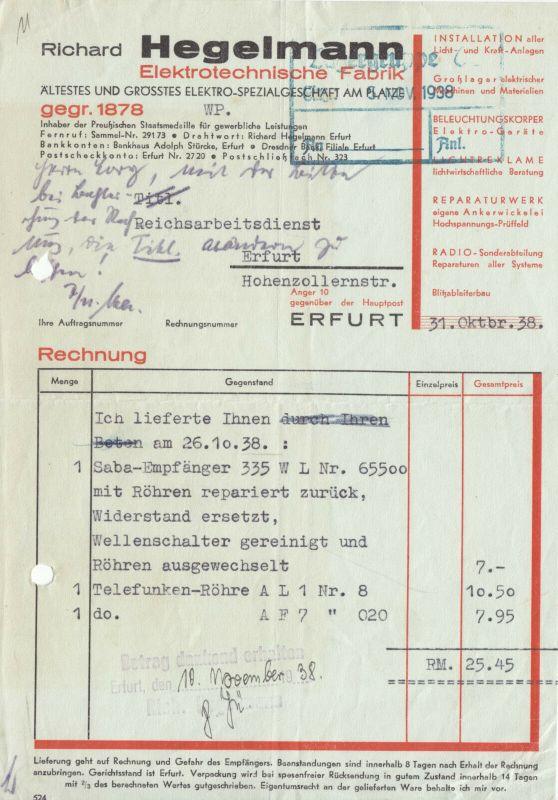 Rechnung und Lieferschein, Fa. Richard Hegelmann, Erfurt, Radioreparatur, 1938