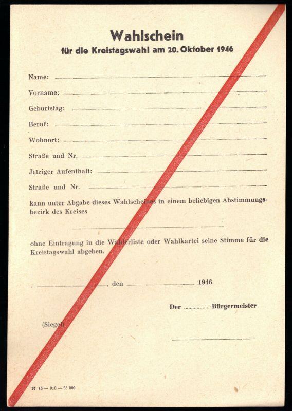 Wahlschein für die Kreistagswahl am 20. Oktober 1946, blanko