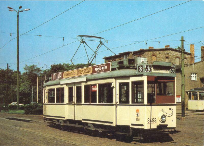Ansichtskarte, Berlin, Triebwagen 3493 der BVG, Baujahr 1927, 1987