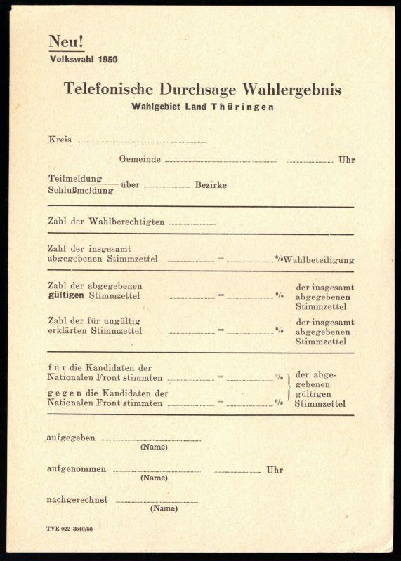 Volkswahl, DDR 1950, Vordruck zur