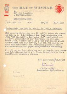 Anschreiben, VEB Bau (ST), Wismar, Urlaubsplatz in Gräfenroda, 30.4.58