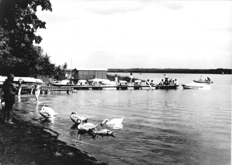 Ansichtskarte, Wendisch Rietz, Badestelle am Scharmützelsee, belebt, 1967