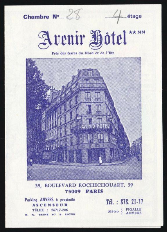 Hotel-Karte, Paris, Avenier Hotel, 39 Boulevard Rochechouart, um 1980