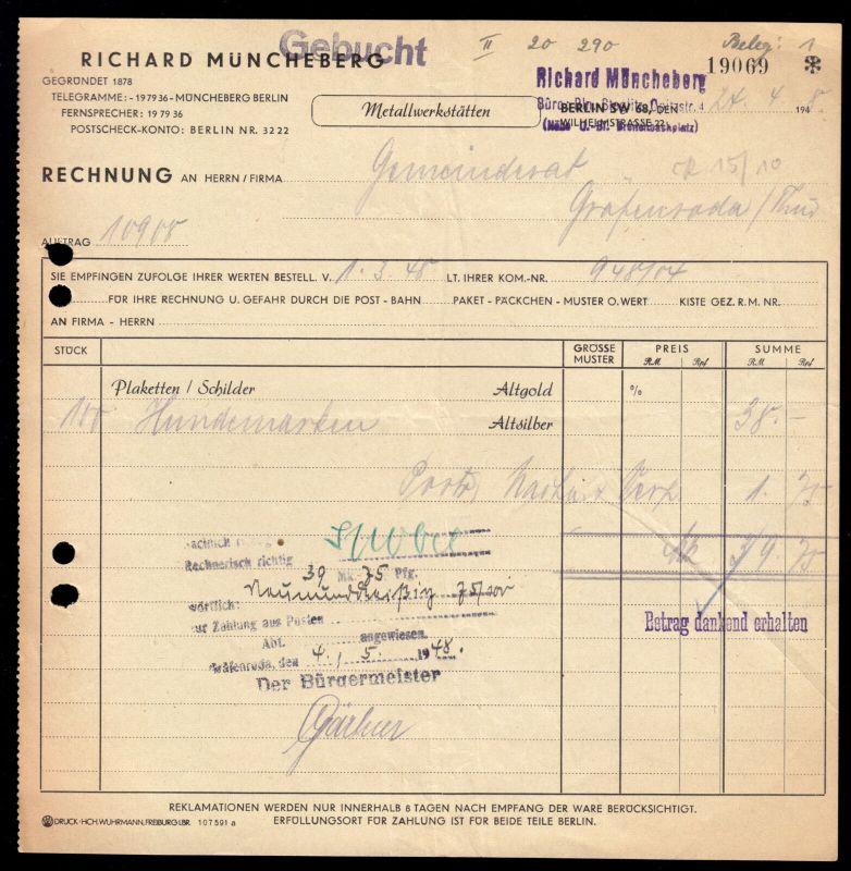Rechnung, Richard Müncheberg, Metallwerkstätten, Berlin SW 68, 24.4.48