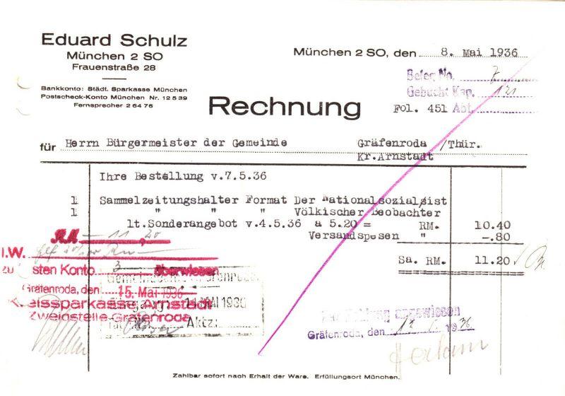 Rechnung, Fa. Eduard Schulz, München 2 SO, 1936