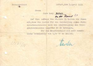 Anschreiben, Fernsprechamt -6-, Erfurt, Herstellung Telefonanschluß, 3.4.1939