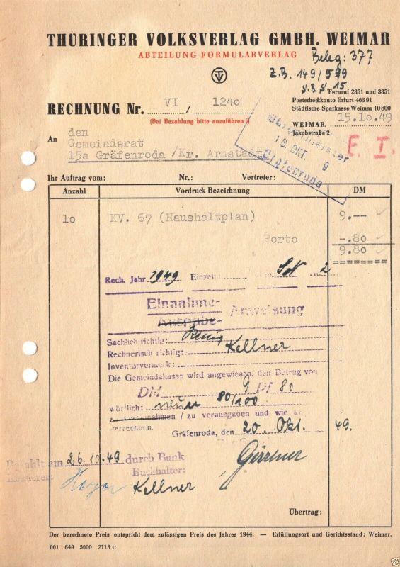 Rechnung, Thüringer Volksverlag GmbH, Weimar, 15.10.49