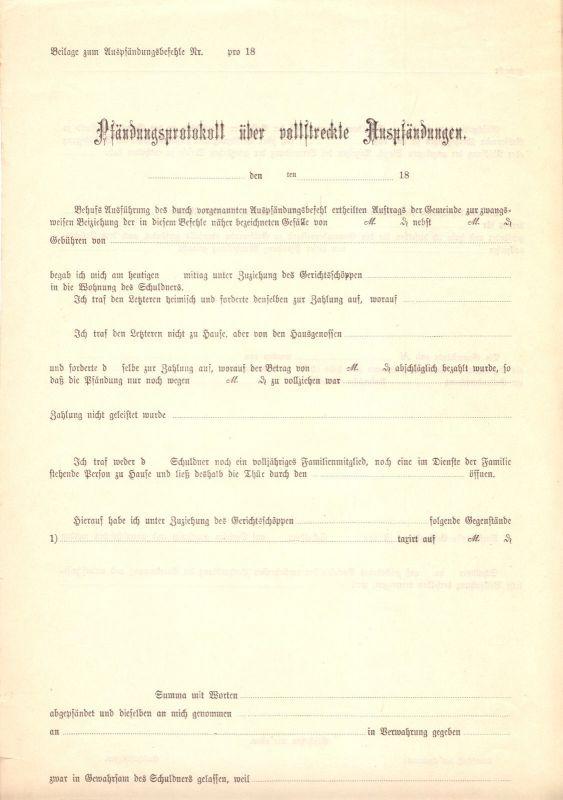 Pfändungsprotokoll über vollstreckte Auspfändungen, um 1895, blanko