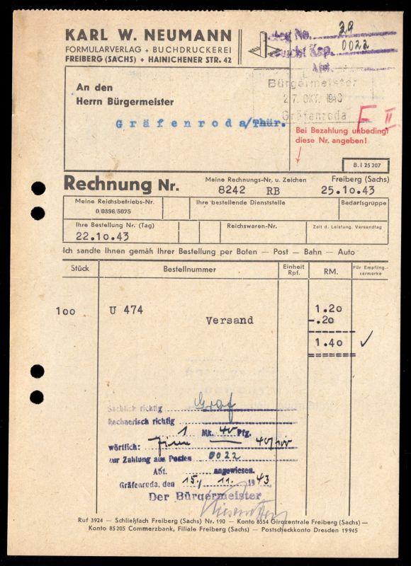 Rechnung, Karl W. Neumann, Formularverlag, Freiberg Sachs., 25.10.43