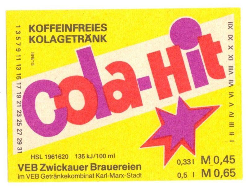 Etikett, Cola-Hit, Koffeinfreies Kolagetränk, VEB Zwickauer Brauereien, 1970er