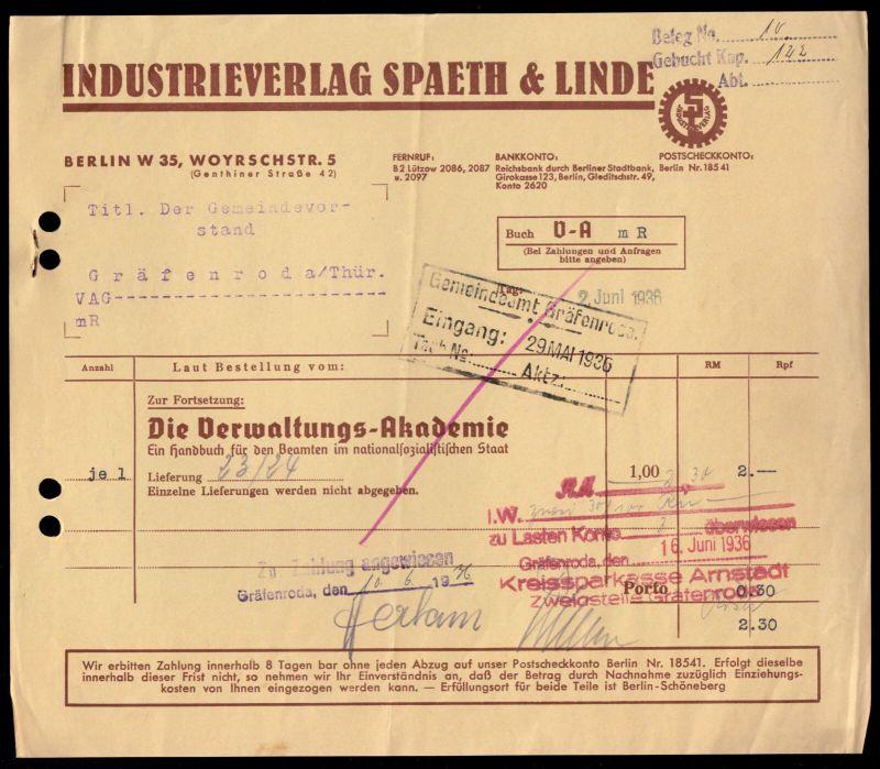 Rechnung, Industrieverlag Spaeth & Linde, Berlin W 35, 2.6.1936