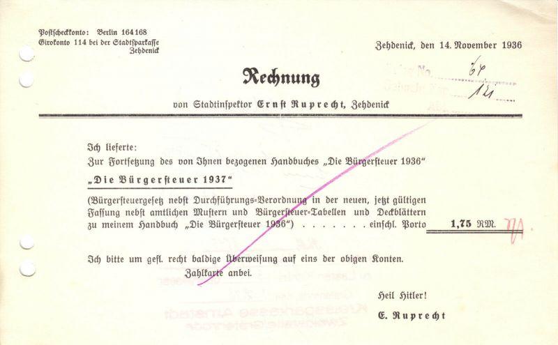Drei Rechnungen, E. Ruprecht, Stadtoberinspektor, Zedenick, 1936 bzw. 1939 (2)