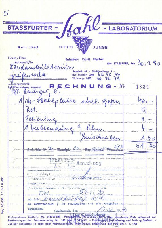 Rechnung, Otto Junge, Stassfurter Stahl-Laboratorium, 30.1.90