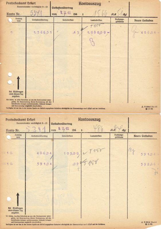 Sieben Kontoauszüge, Postscheckamt Erfurt, 1942/43, rückseitg Werbung