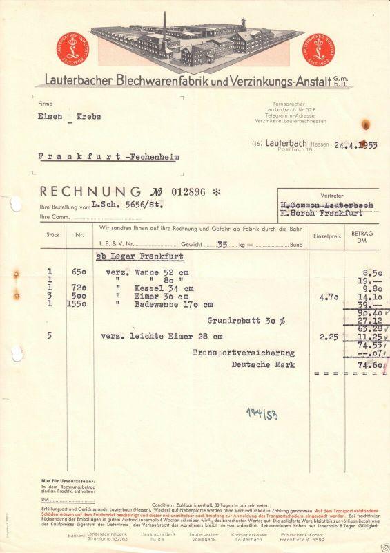 Rechnung, Lauterbacher Blechwarenfabik und Verzinkungs-Anstalt GmbH, 24.4.53