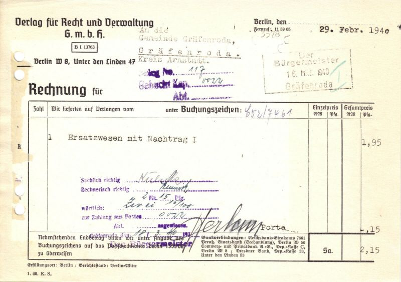 Rechnung, Verlag für Recht und Verwaltung GmbH, Berlin W 8, 29.02.1940