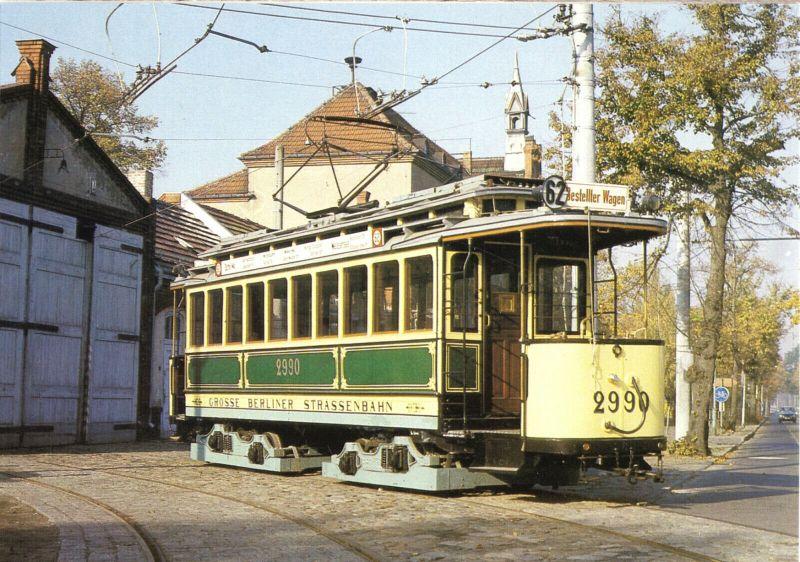 Ansichtskarte, Berlin, Straßenbahn, Triebwagen 2990 der BVG, Bauart 1907, 1989