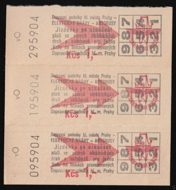 Drei Fahrkarten, ÖPNV, Prag, um 1990 0