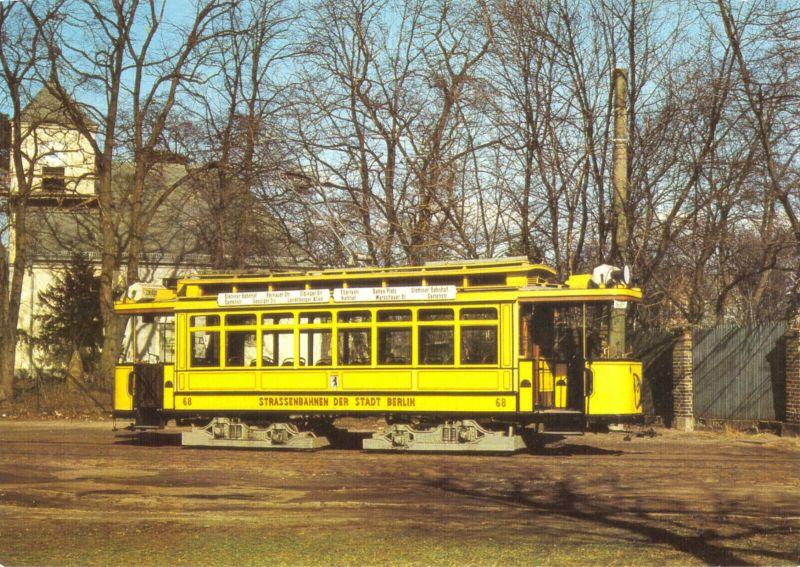 Ansichtskarte, Berlin, Triebwagen 68 der Städtischen Straßenbahn Berlin, Baujahr 1910, 1987
