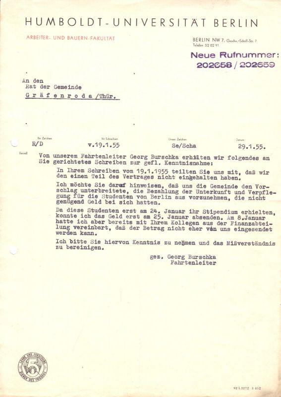 Anschreiben, Humboldt-Universität Berlin, ABF, 29.1.1955