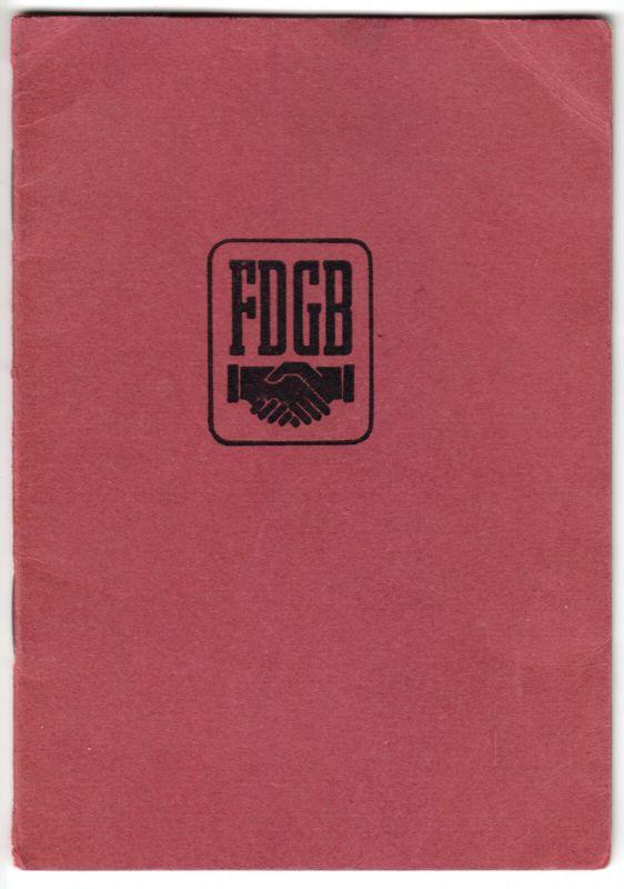 FDGB der DDR, frühes Mitgliedsbuch mit Beitragsmarken 1954