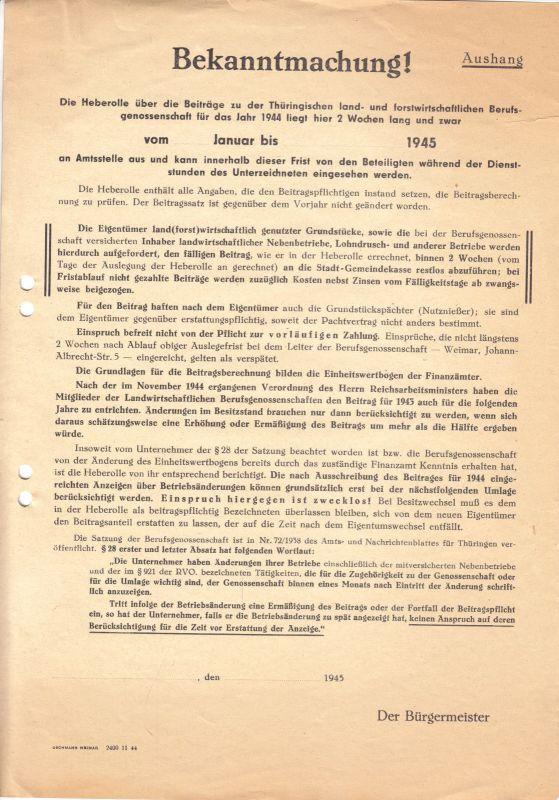 Bekanntmachung über Beiträge zur Berufsgenossenschaft Thüringens von Januar 1945