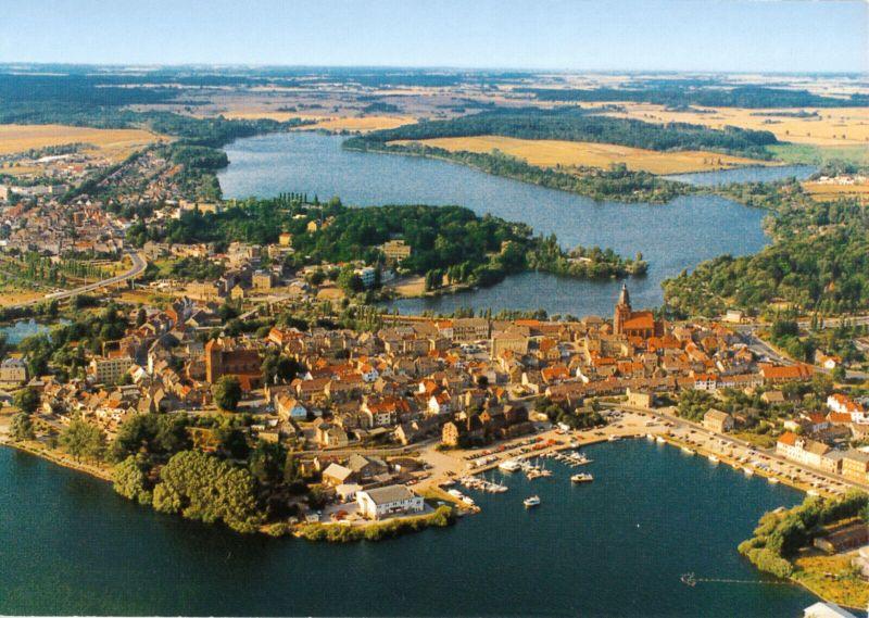 Ansichtskarte, Waren Müritz, Luftbildansicht von der Müritz zum Tiefwarensee, um 2000