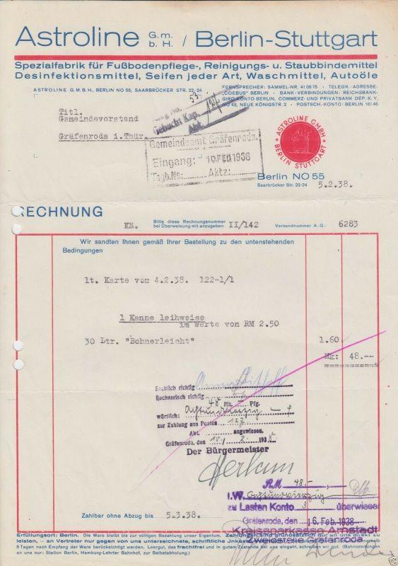 Rechnung, Fa. Astroline, Fußbodenpflegemittel, Berlin - Stuttgart, 5.2.38