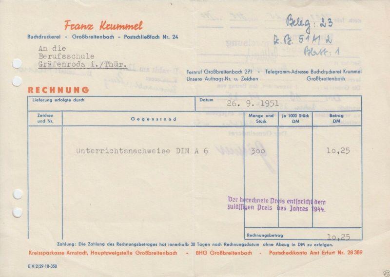 Rechnung, Fa. Franz Krummel, Buchdruckerei, Großbreitenbach, 26.9.51