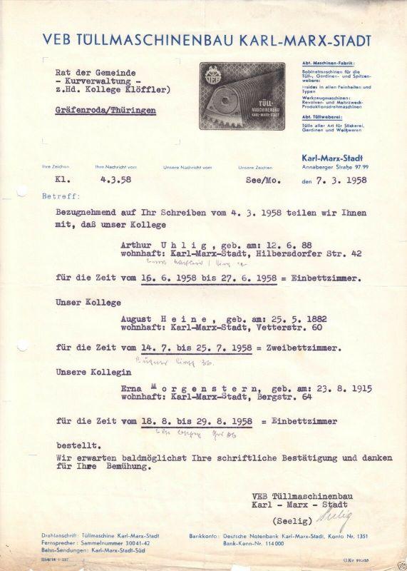 Anschreiben, VEB Tüllmaschinenbau Karl-Marx-Stadt, bzgl. Ferienplätzen, 7.3.58