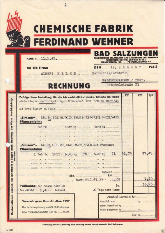 Rechnung, Chemische Fabrik Ferdinand Wehner, Bad Salzungen, 19.1.42