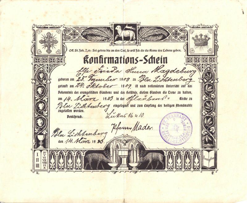 Konfirmations-Schein, Ev. Pfarramt Berlin Lichtenberg, Glaubenskirche, 14.03.23