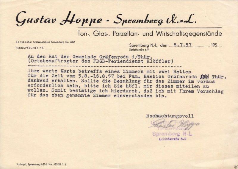 Anschreiben, Fa. Gustav Hoppe, Spremberg, bzgl. Ferienplatz, 8.7.57