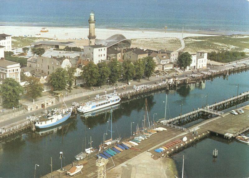 Ansichtskarte, Rostock Warnemünde, Alter Strom, Luftbild der Interflug, 1986