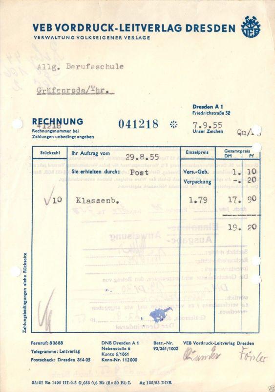 Rechnung, VEB Vordruck-Leitverlag, Dresden A 1, Friedrichstr. 52, 7.9.1955