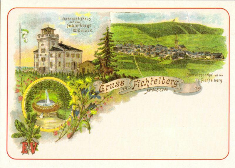 Ansichtskarte, Oberwiesenthal Erzgeb., Fichtelberg, 3 Abb., Reprint einer alten Ansichtskarte, um 1993