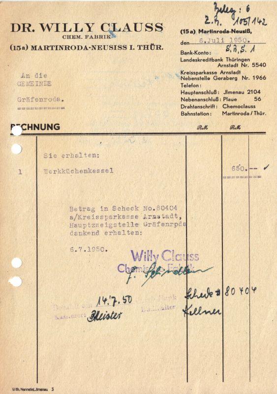 Rechnung, Dr. Willy Clauss, Chem. Fabrik, Martinsroda - Neusiss Thür., 6.7.1950