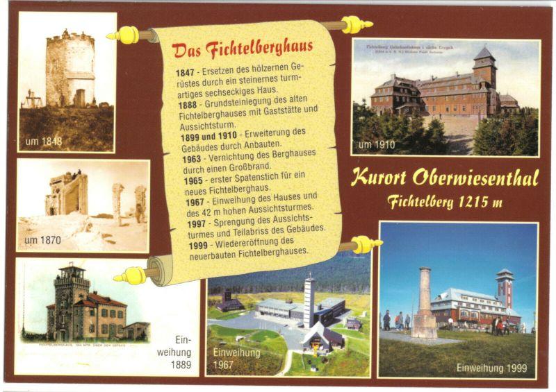 Ansichtskarte, Kurort Oberwiesenthal, Fichtelberghaus, Chronik-Karte mit sieben Abb., 2000