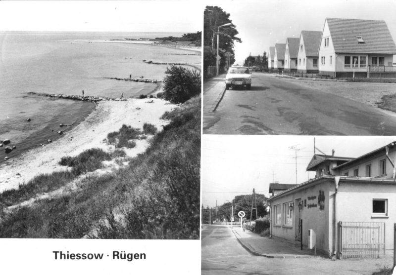 Ansichtskarte, Thiessow Rügen, drei Abb., 1982