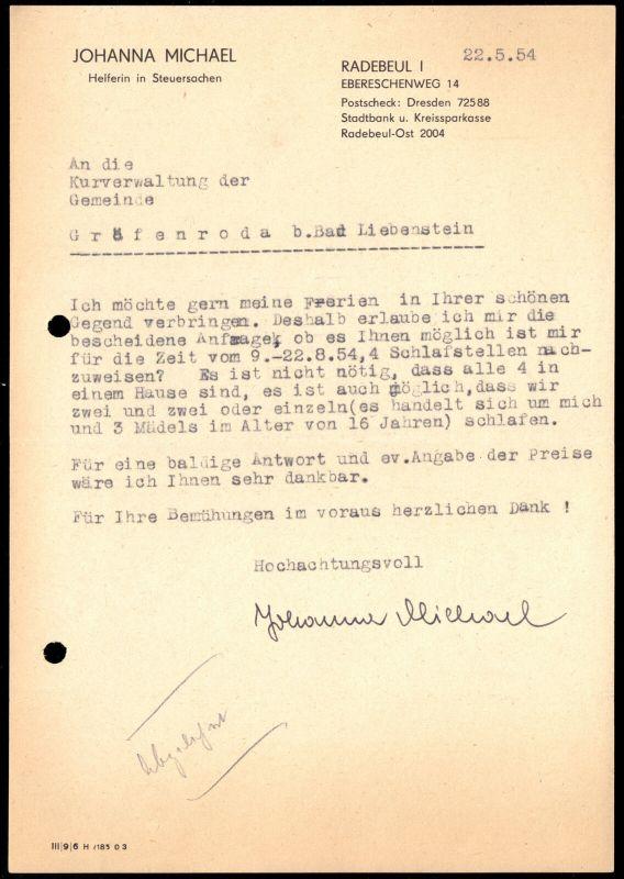 Anschreiben, J. Michel, Radebeul, Anfrage Urlaubsplatz in Gräfenroda, 22.5.54