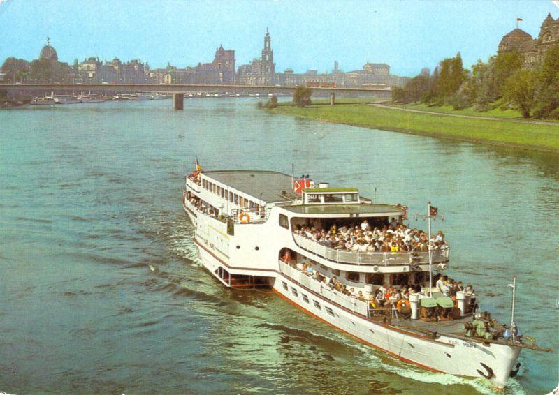 Ansichtskarte, Dresden, Raddampfer