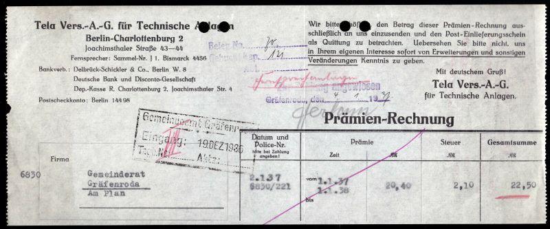 Prämien-Rechnung, Tela Vers.-A.G. für Techniche Anlagen, Berlin, 1937