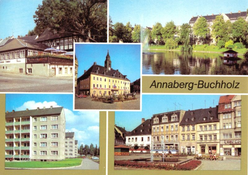 Ansichtskarte, Annaberg - Buchholz Erzgeb., fünf Abb., 1986