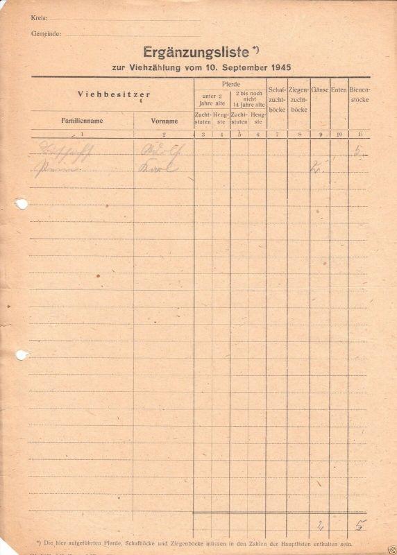 Ergänzungsliste zur Viehzählung vom 10. September 1945